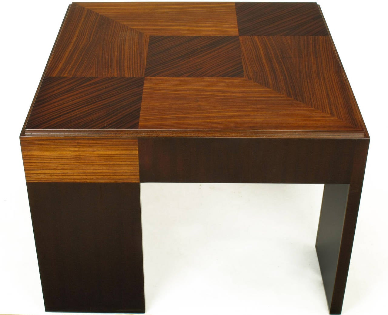 John Widdicomb Natural and Bleached Macassar Ebony and Walnut Coffee Table In Excellent Condition For Sale In Chicago, IL