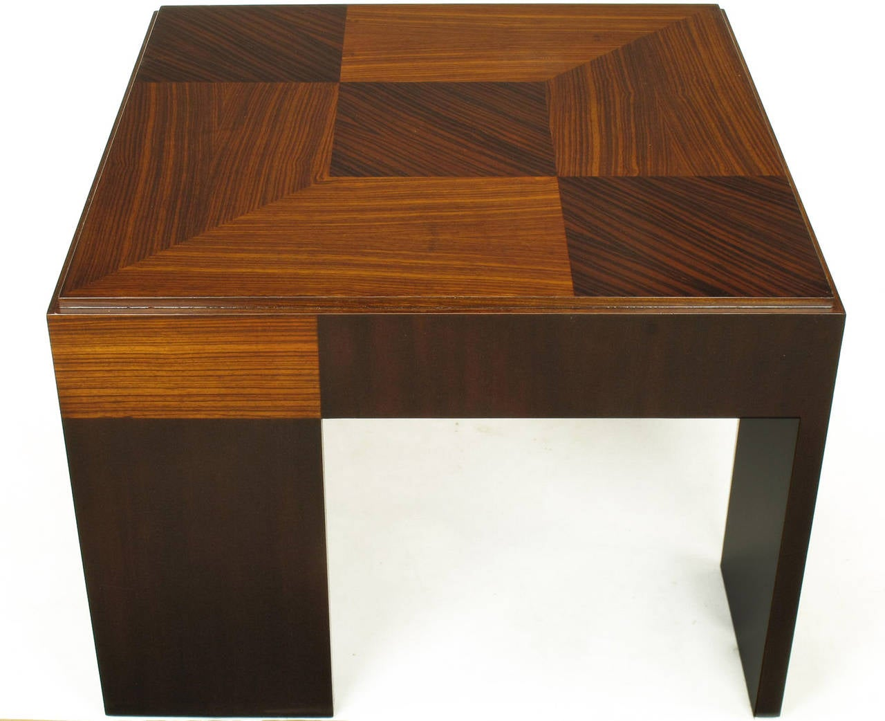 Late 20th Century John Widdicomb Natural and Bleached Macassar Ebony and Walnut Coffee Table For Sale