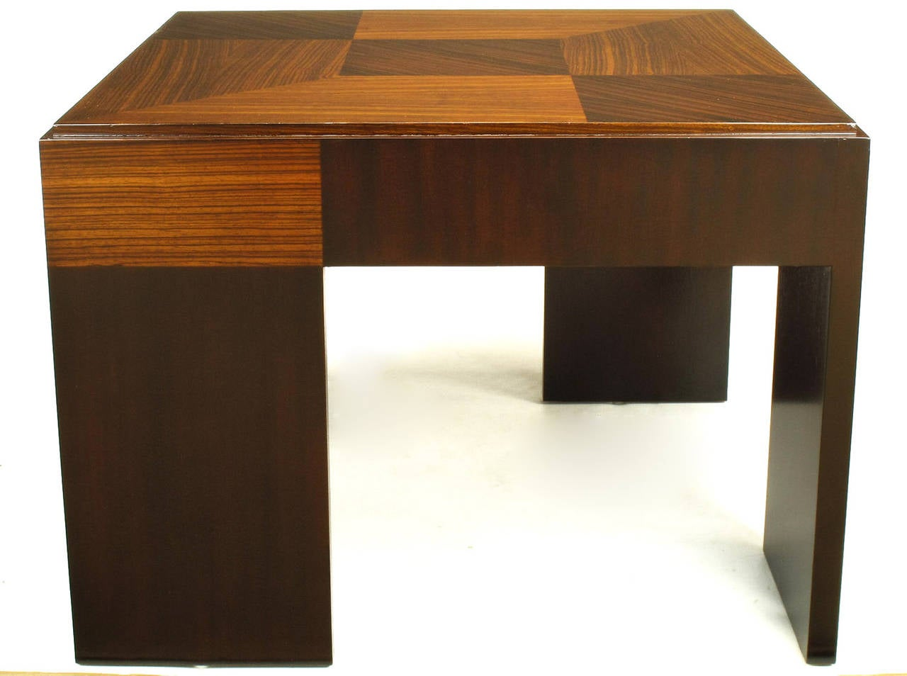 John Widdicomb Natural and Bleached Macassar Ebony and Walnut Coffee Table For Sale 1