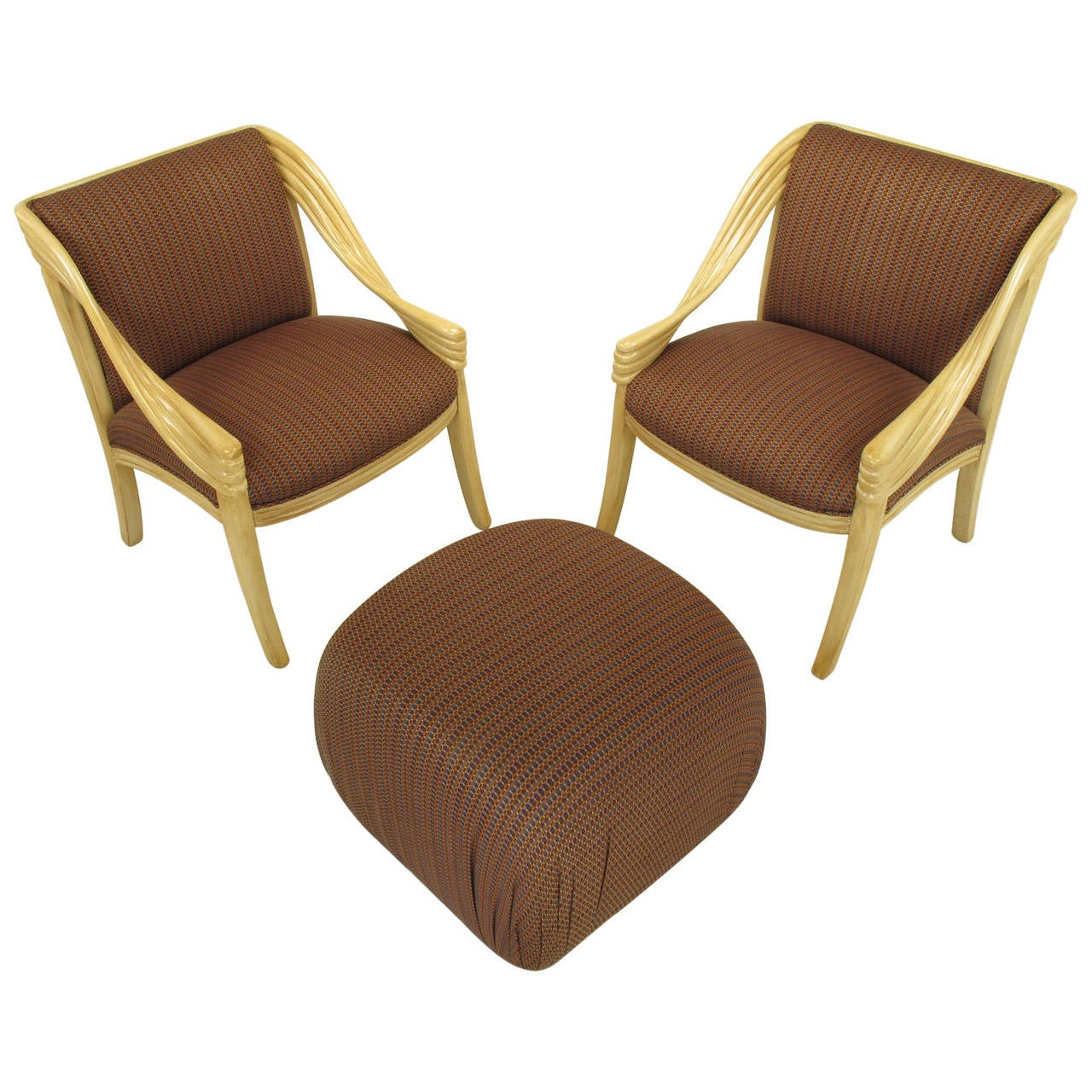 Pair of Weiman Hand-Carved Rattan-Form Lounge Chairs with Ottoman in Ivory Glaze