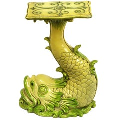 Saffron Yellow & Moss Green Lacquered Dolphin Pedestal Table