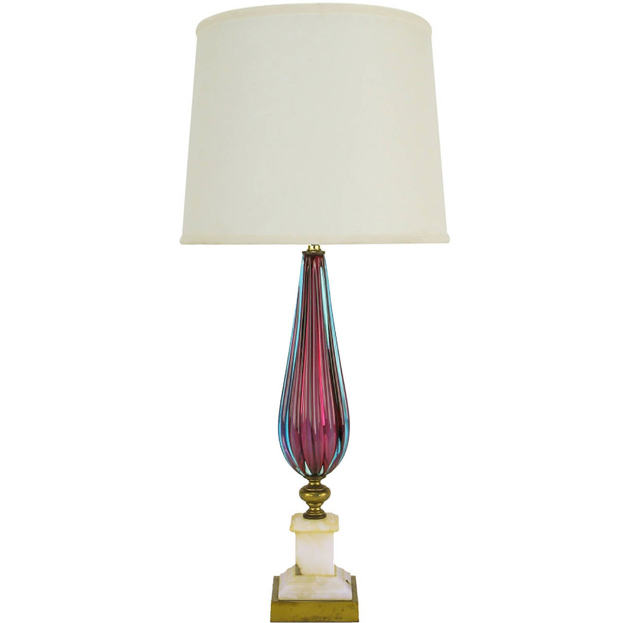 murano glass table lamp with carrera marble base for sale at 1stdibs. Black Bedroom Furniture Sets. Home Design Ideas