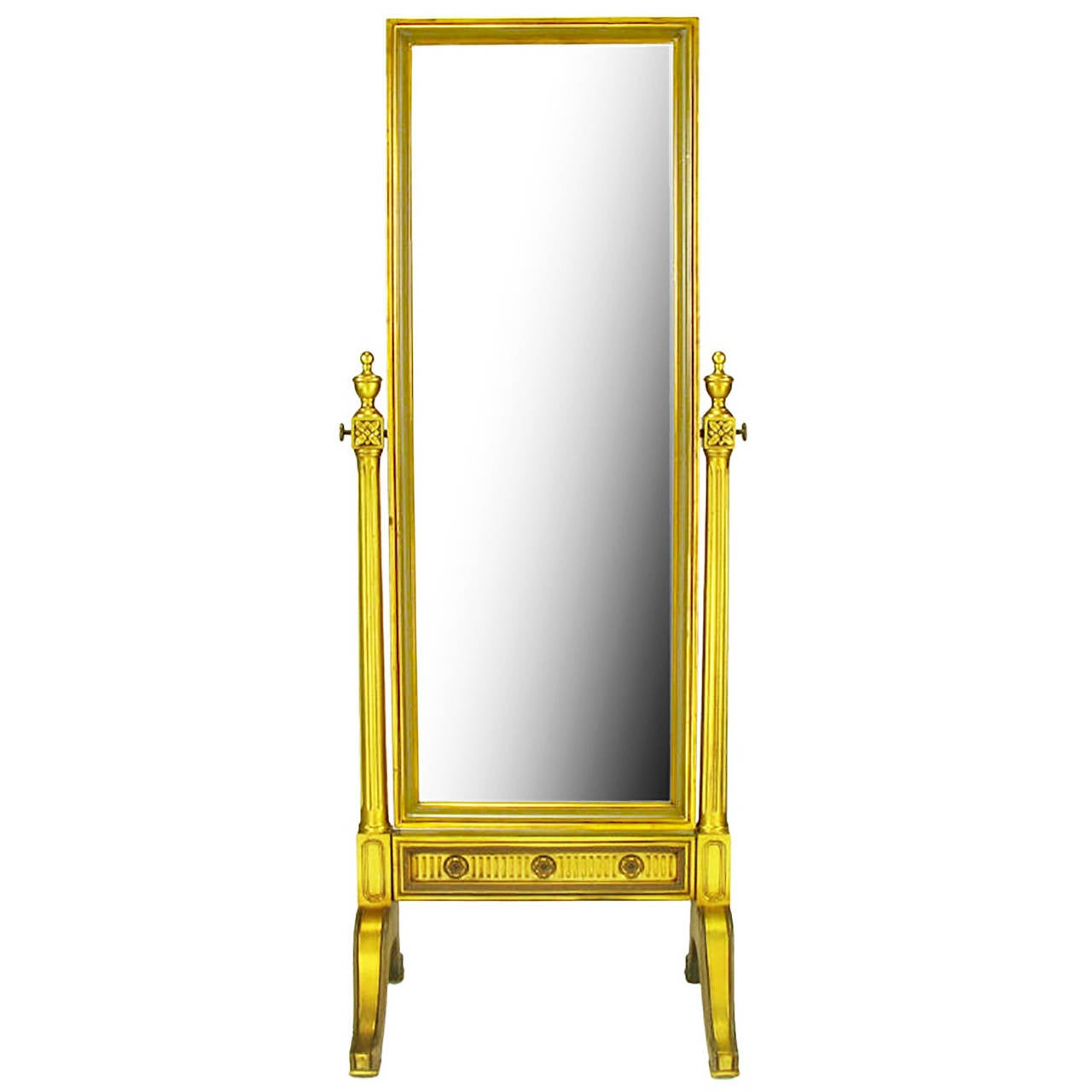gilt wood neoclassical full length cheval floor mirror for