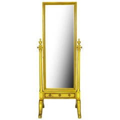 Gilt Wood Neoclassical Full Length Cheval Floor Mirror