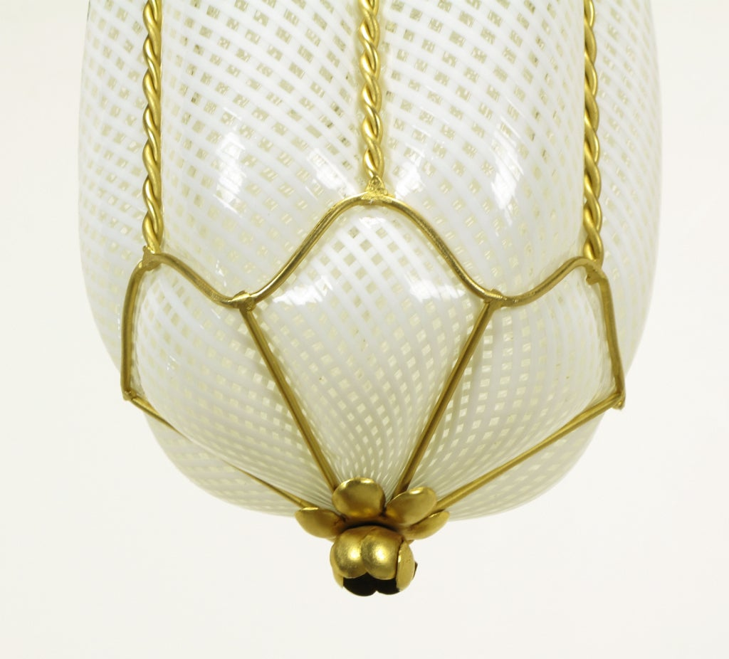 pair white murano latticino glass and gilt metal pendant lights at. Black Bedroom Furniture Sets. Home Design Ideas