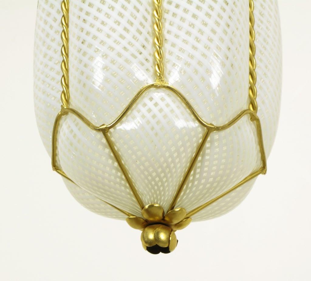 pair white murano latticino glass and gilt metal pendant lights at. Black Bedroom Furniture Sets. Home Design Ideas