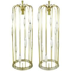 """Pair Lightolier """"Birdcage"""" Brass & Aluminum Floor Lamps"""