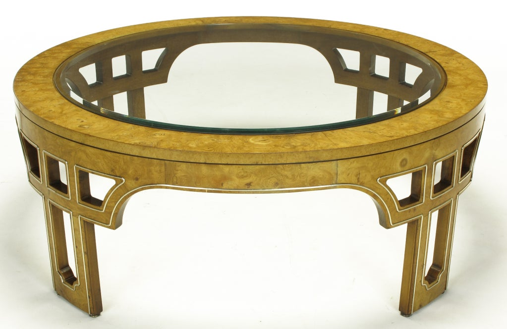 Round Burl Wood Coffee Table With Open Fretwork Legs At 1stdibs