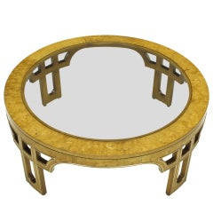Round Burl Wood Coffee Table With Open Fretwork Legs