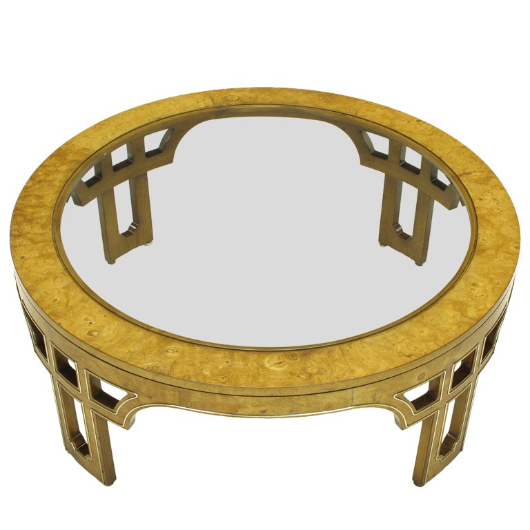 1stdibs Burl Wood Coffee Table: Round Burl Wood Coffee Table With Open Fretwork Legs At