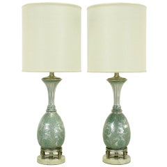 Pair Reverse Silvered & Hand Painted Glass Table Lamps