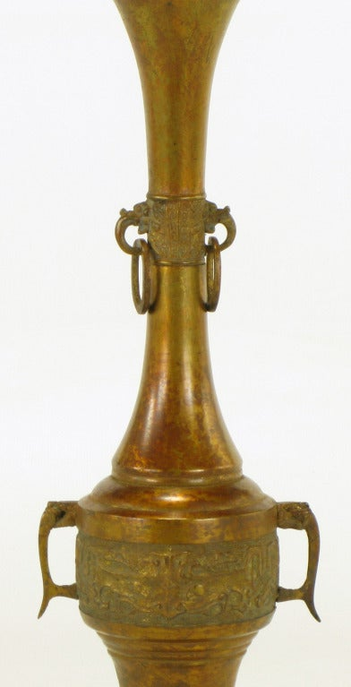 Tall Japanese Gilt Bronze Urn Table Lamp For Sale 1