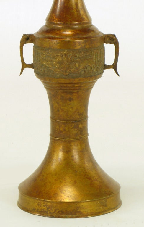 Tall Japanese Gilt Bronze Urn Table Lamp For Sale 2