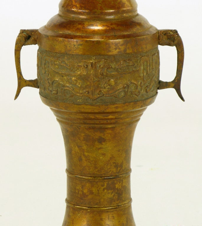 Tall Japanese Gilt Bronze Urn Table Lamp For Sale 3