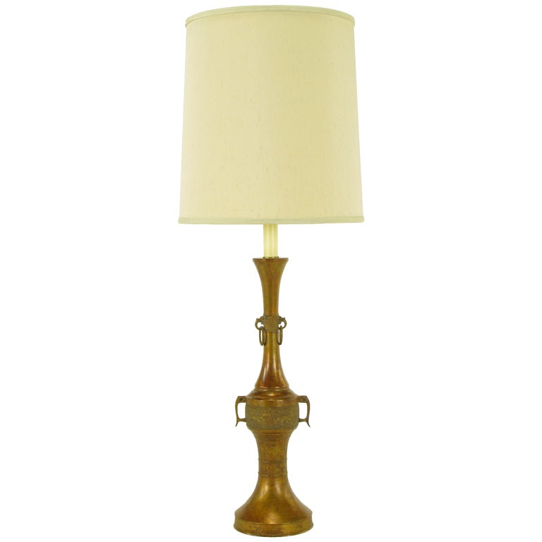 Tall Japanese Gilt Bronze Urn Table Lamp For Sale