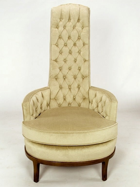 High Barrel Back Button Tufted Lounge Chairs At 1stdibs