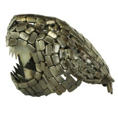 Jaguar Head Sculpture Of  Reticulated Welded Metal
