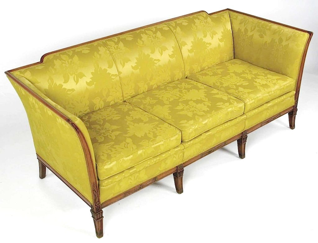 1940s Empire Sofa In Gold Damask And Carved Walnut At 1stdibs