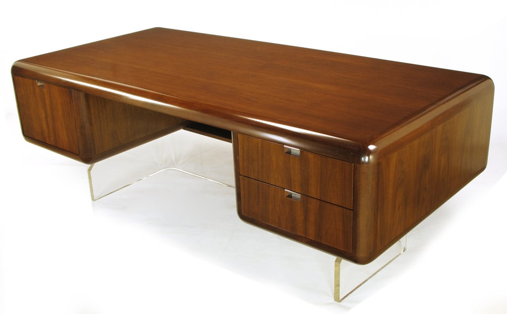 Rare vladimir kagan walnut and lucite executive desk at for Perspex desk
