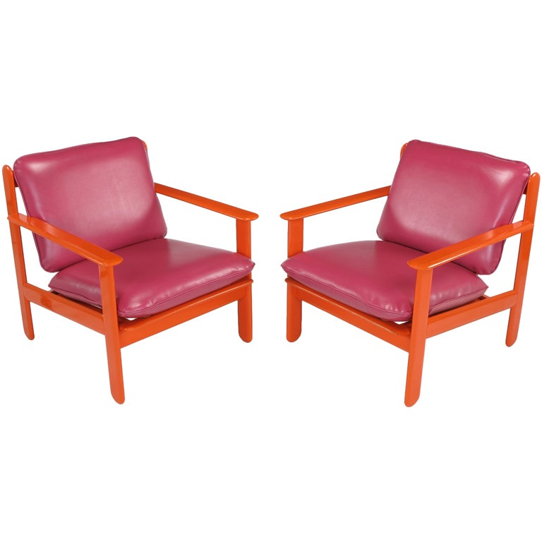 Pair Persimmon & Magenta Italian Lounge Chairs