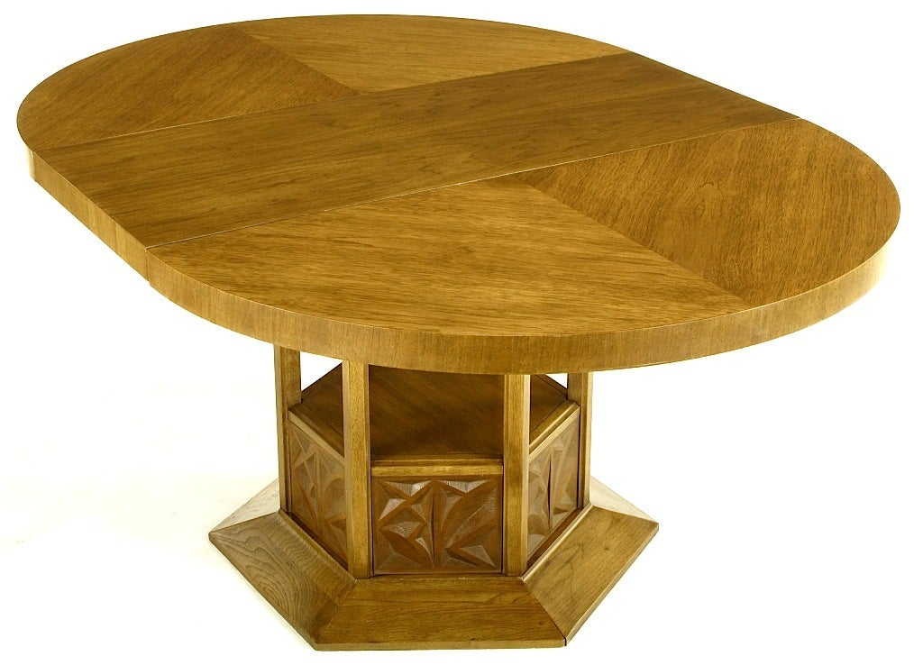 Round Dining Table With Geometric Open Hexagon Pedestal For Sale At 1stdibs