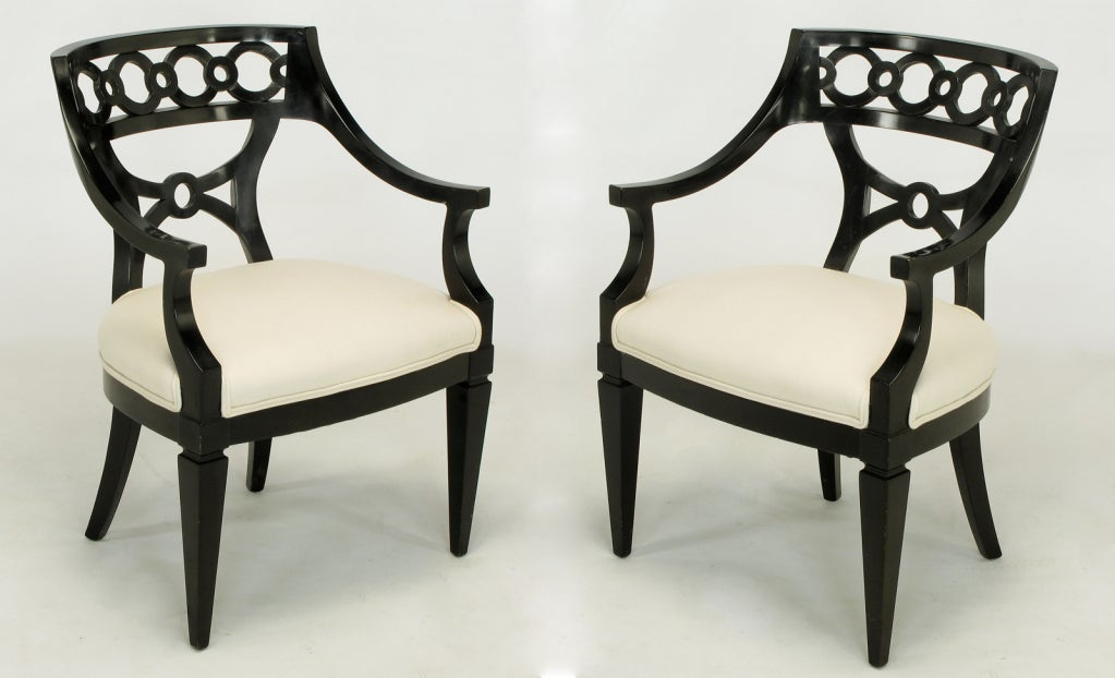 Pair Black Lacquer And Wool Arm Chairs With Interlocking