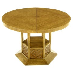 Round Dining Table with Geometric Open-Hexagon Pedestal
