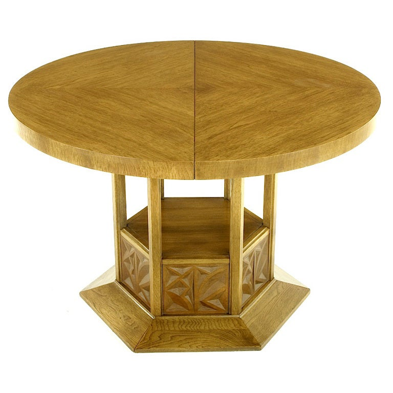 Round Dining Table With Geometric Open Hexagon Pedestal At