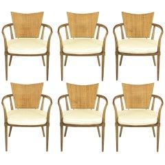 Six Bert England Mahogany, Brass & Cane Arm Chairs