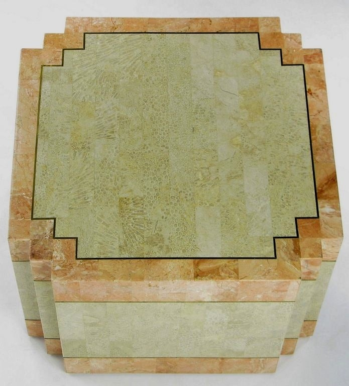 Philippine Casa Bique Tessellated Fossil Stone and Marble Coffee Table For Sale