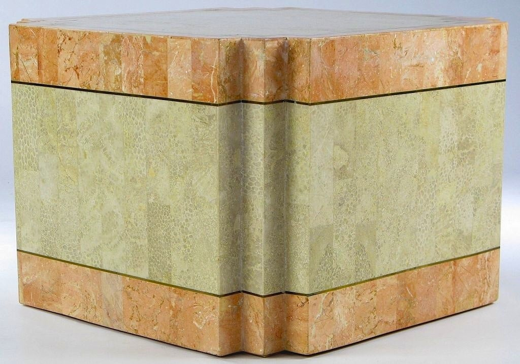 Late 20th Century Casa Bique Tessellated Fossil Stone and Marble Coffee Table For Sale