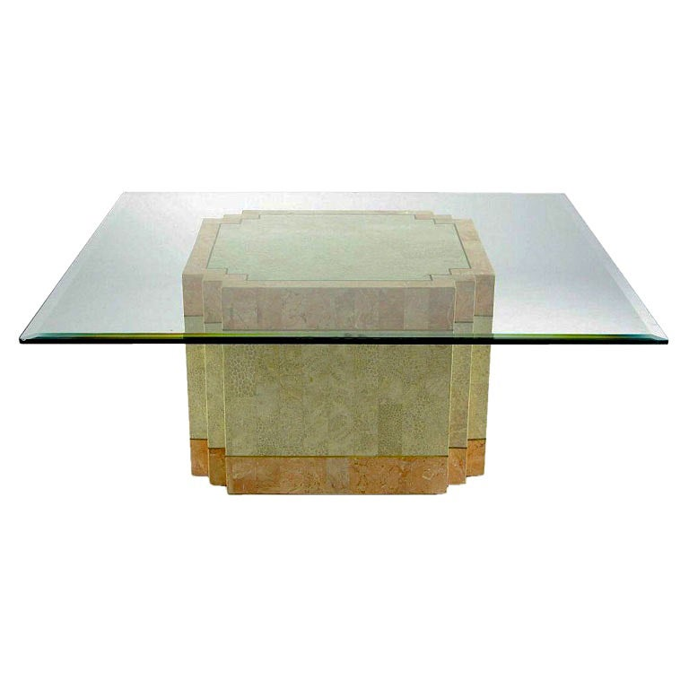 Casa Bique Tessellated Fossil Stone and Marble Coffee Table For Sale