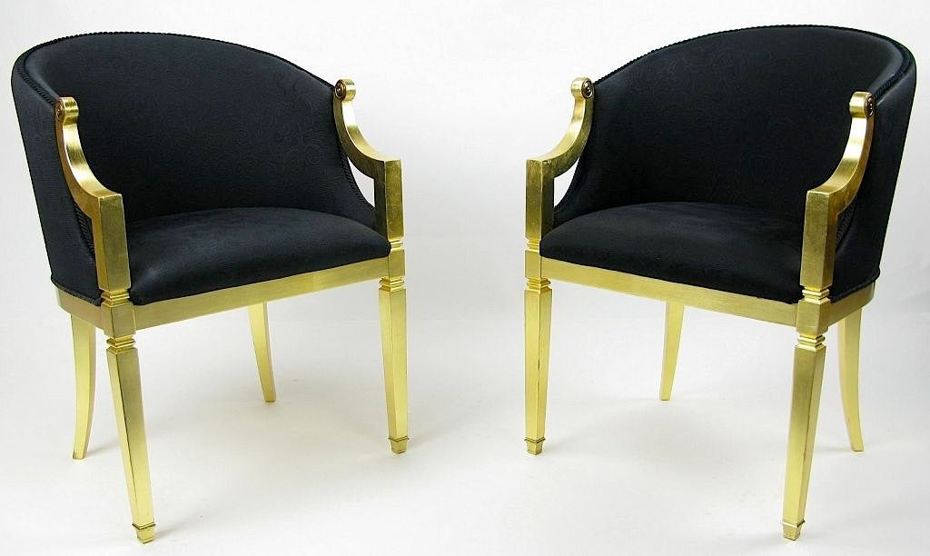 Pair gilt frame and black upholstered barrel chairs at 1stdibs