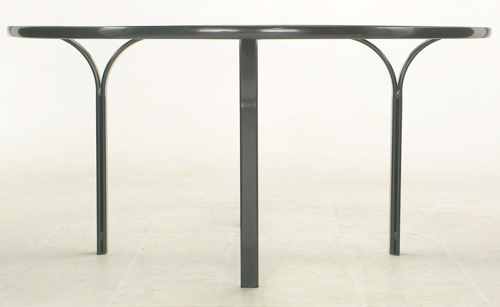 Jay Spectre Dark Blue Laquered Metal Dining Table At 1stdibs