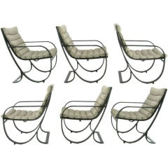 Set of Six Jay Spectre Dark Blue & Gray Metal Dining Chairs