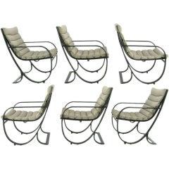 Set of Six Jay Spectre Dark Blue & Gray Metal Dining Chairs