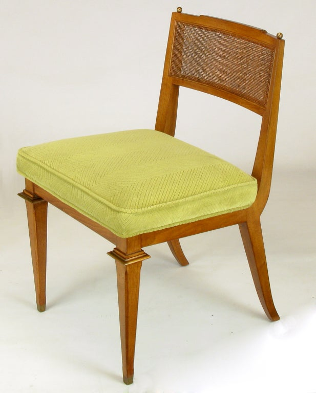 Mid-20th Century Six Walnut, Cane and Copper Empire Dining Chairs For Sale