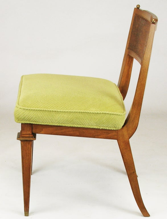 Six Walnut, Cane & Copper Empire Dining Chairs 5