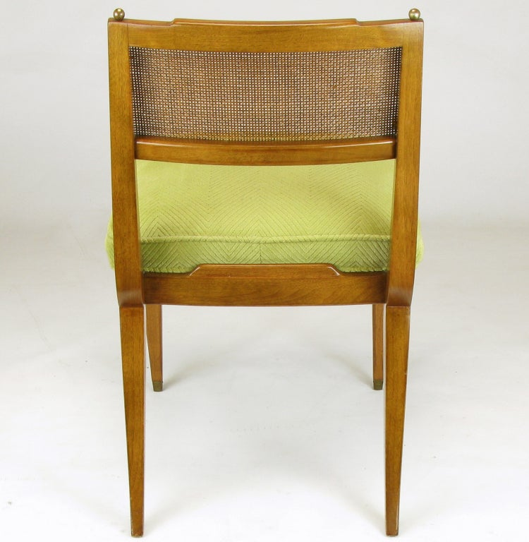 Six Walnut, Cane & Copper Empire Dining Chairs 6