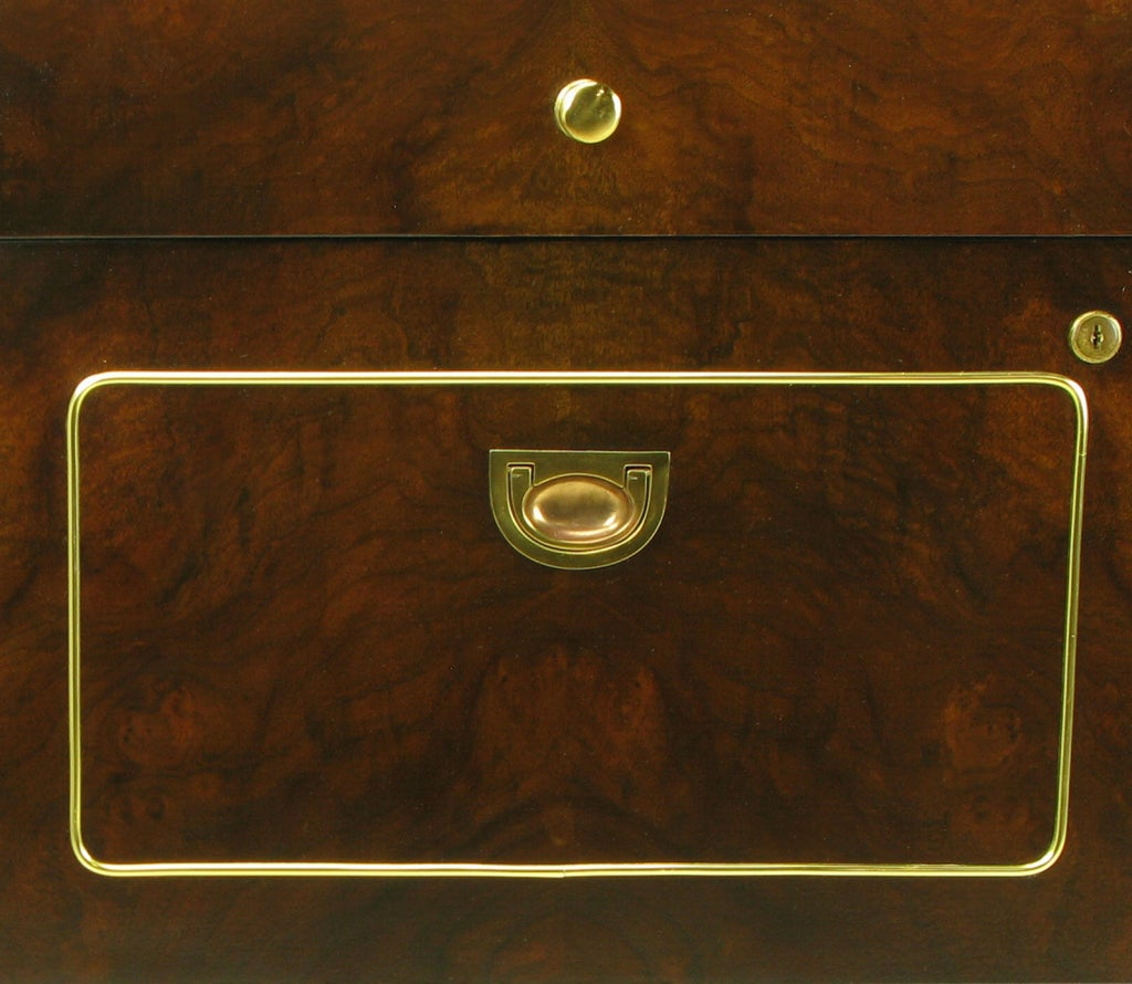 Romweber Burled Walnut and Brass Campaign-Modern Credenza For Sale 4