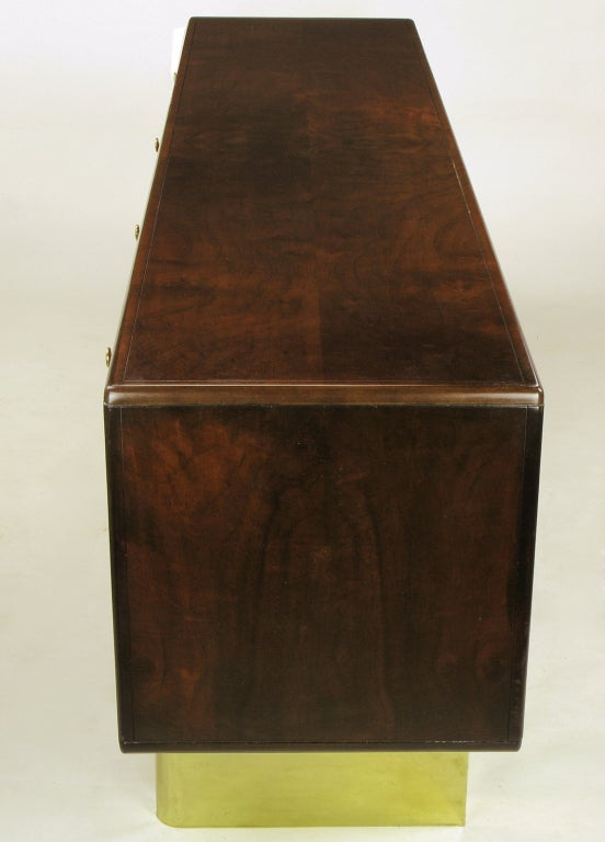 American Romweber Burled Walnut and Brass Campaign-Modern Credenza For Sale