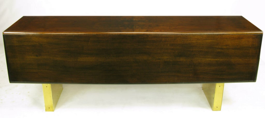 Late 20th Century Romweber Burled Walnut and Brass Campaign-Modern Credenza For Sale