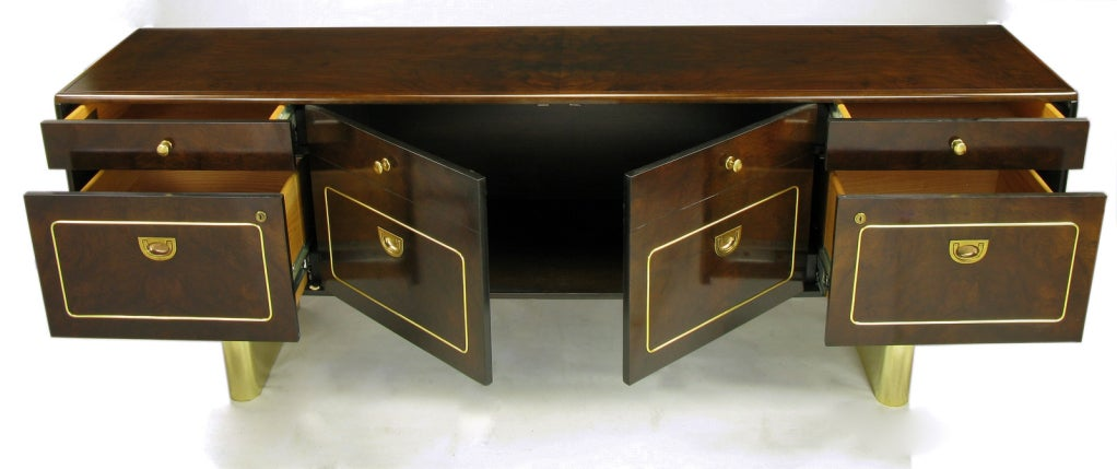 Romweber Burled Walnut and Brass Campaign-Modern Credenza For Sale 1