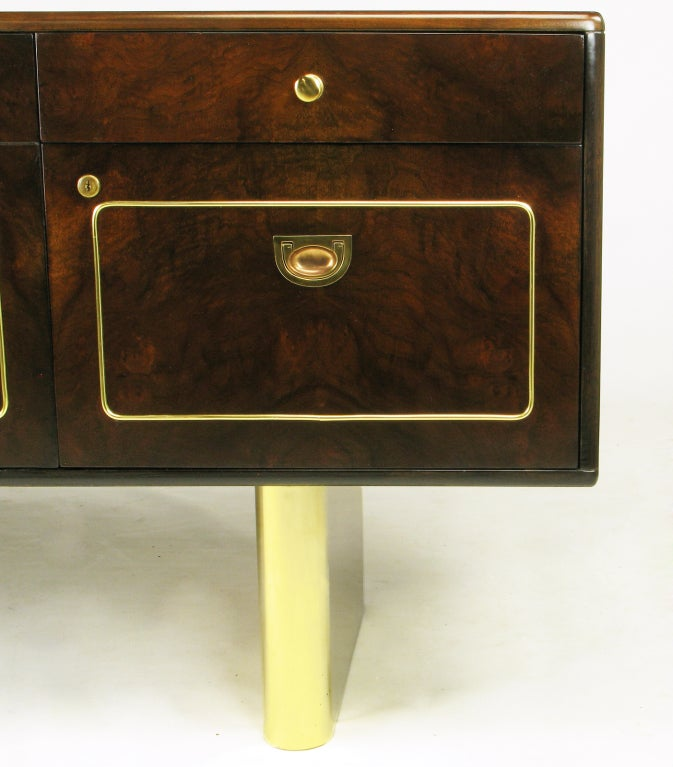 Romweber Burled Walnut and Brass Campaign-Modern Credenza For Sale 3