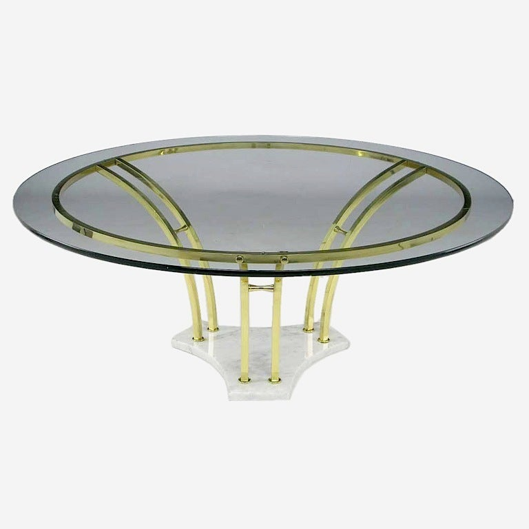 Elegant Brass And Glass Coffee Table: Elegant Brass And Carrera Marble Round Coffee Table At 1stdibs