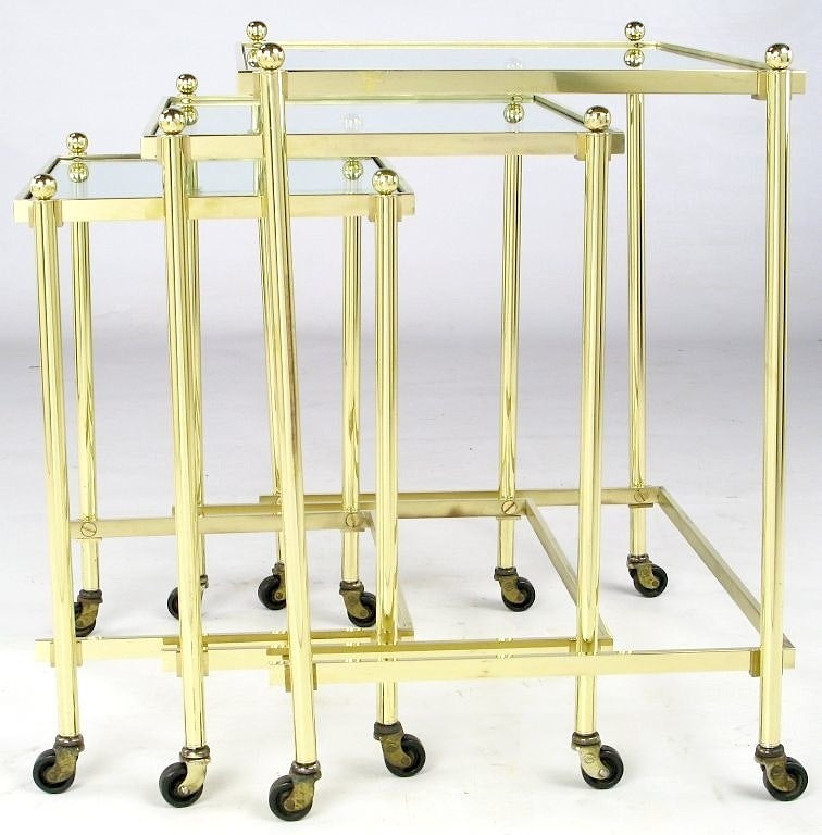 American Solid Brass Set of Three Nesting Tables in the Manner of Jansen For Sale