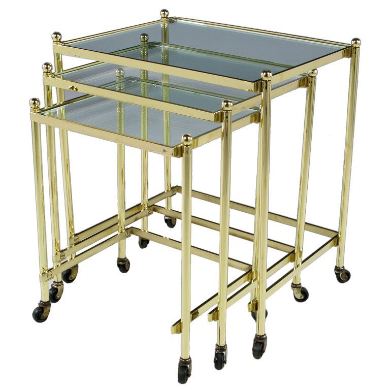 Solid Brass Set of Three Nesting Tables in the Manner of Jansen