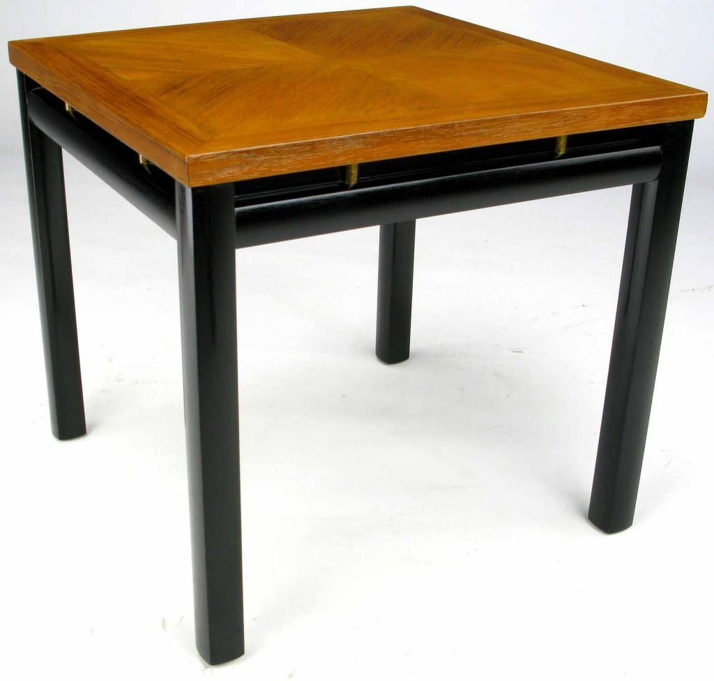 American Pair of Michael Taylor Bleached Mahogany and Black Lacquer End Tables For Sale
