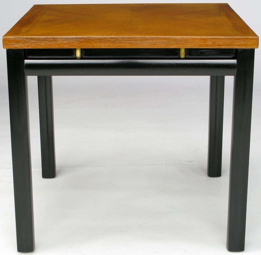 Pair of Michael Taylor Bleached Mahogany and Black Lacquer End Tables In Good Condition For Sale In Chicago, IL