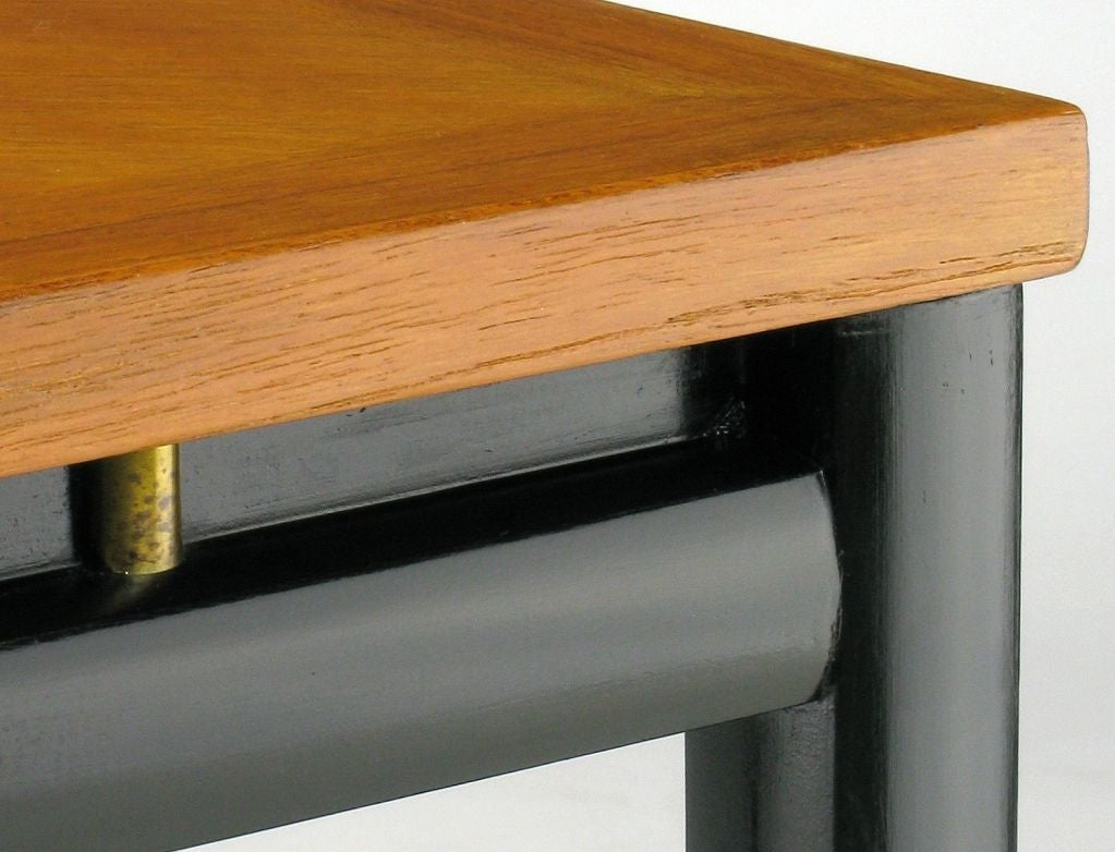 20th Century Pair of Michael Taylor Bleached Mahogany and Black Lacquer End Tables For Sale